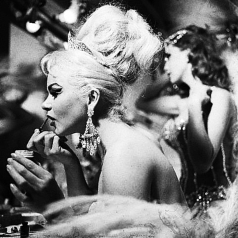 Showgirl gets ready for the Folies Bergere show at the Hotel Tropicana-Las Vegas-1969-Afterhours Sleaze and Dignity-3
