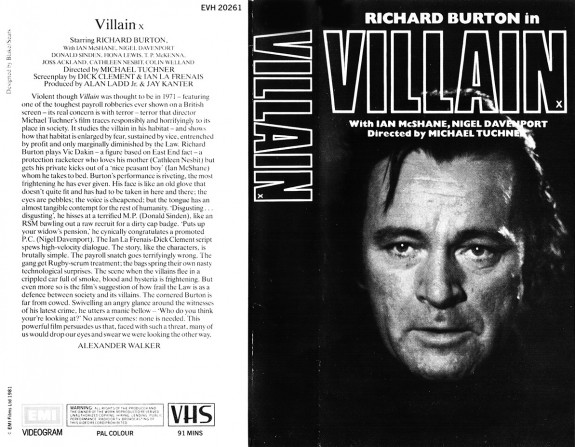 Villain 1971-VHS cover-Richard Burton-Ian McShane-Nigel Davenport-Fiona Lewis-Alexander Walker-Afterhours Sleaze and Dignity